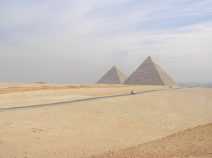 Two pyramids: A two pyramids view in Giza, Egypt.