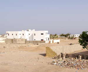 Empty square: Typical square in Egyptian town.
