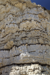 Banded chalk cliff