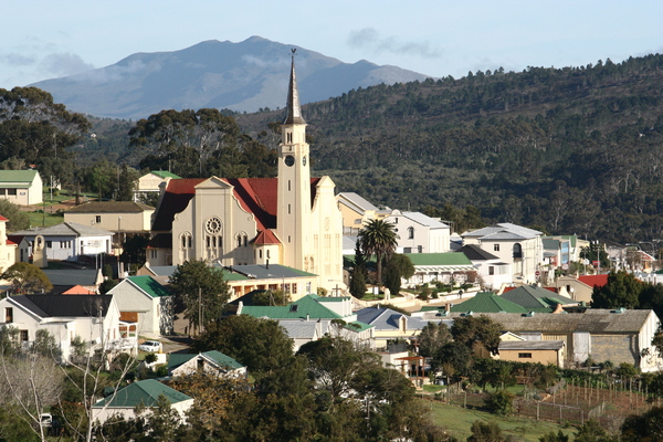 Napier vista: View over Napier, in South Africa, with the large church central
