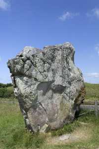 Ancient stone: A massive ancient neolithic standing stone at Avebury Ring in Wiltshire, England.