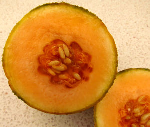 rockmelon ripeness1: the smooth surface and seeds of a cut rock melon