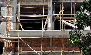 bamboo scaffolding1: bamboo scaffolding on building construction site