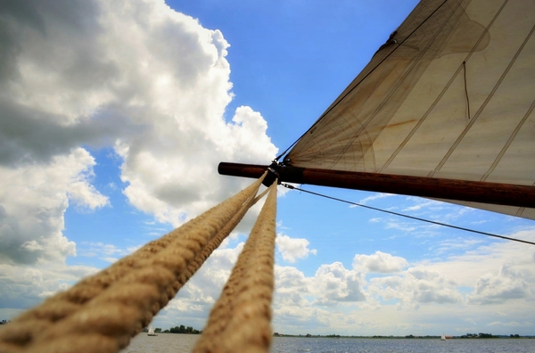 Sail: Large sail and sky.