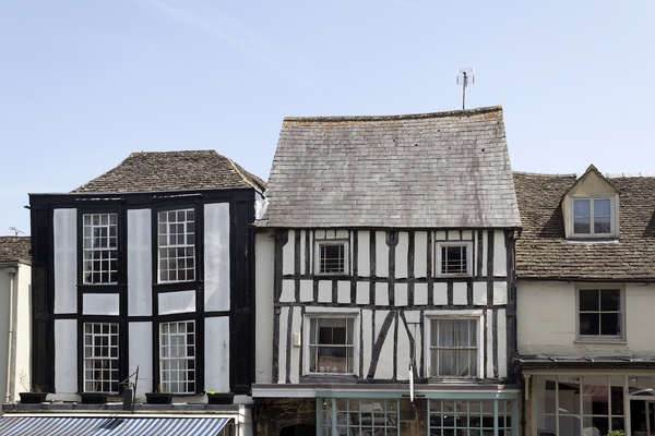 Old houses: Upper storeys of old shops in Wiltshire, England.
