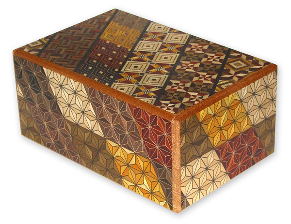 Japanese Puzzle Box - New Koyo: Japanese Puzzle Boxes are small Japanese crafts. They are totally handmade and each single color of the pattern is made by a different wood type. This pattern is called