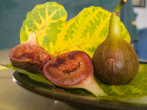 Figs and fig leaf: Whole and split figs