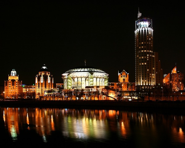 Moscow House of Music at night