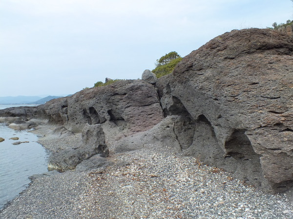 Volcanic Rock Formation: Volcanic Rock Formation from the eruption of the Kalloni Volcano that created the caldera that is now the gulf of Kalloni.