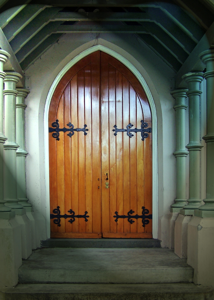 Chapel door: Doorway of a chapel in the cemetery, closed but evocative