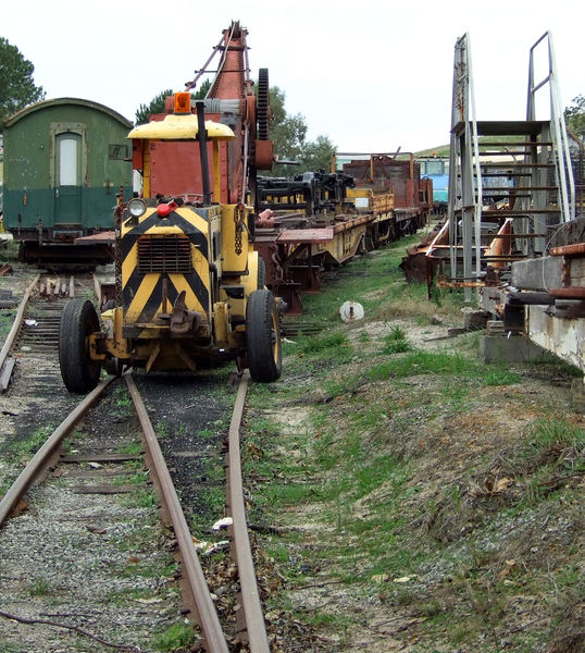 railway repair yard1: old railway repair equipment used in restoration work