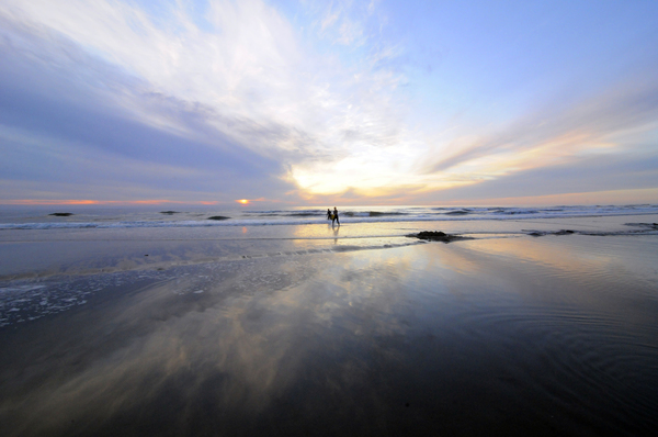 Sea: Sun set at the Dutch coast near Bergen aan Zee, the Netherlands