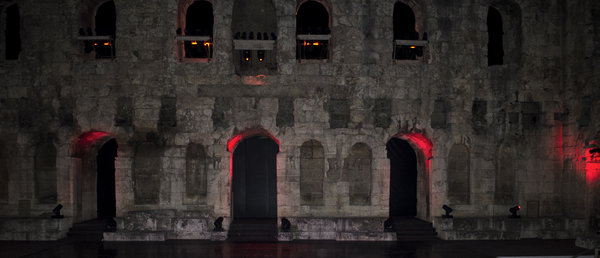 Ancient theater at night