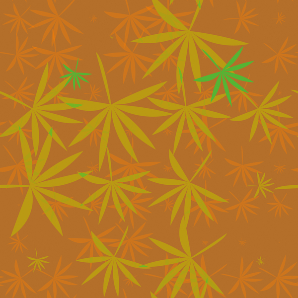 Bamboo Leaves 4: A colourful backdrop, texture, pattern or fill with leaf shapes reminiscent of bamboo or marijuana.
