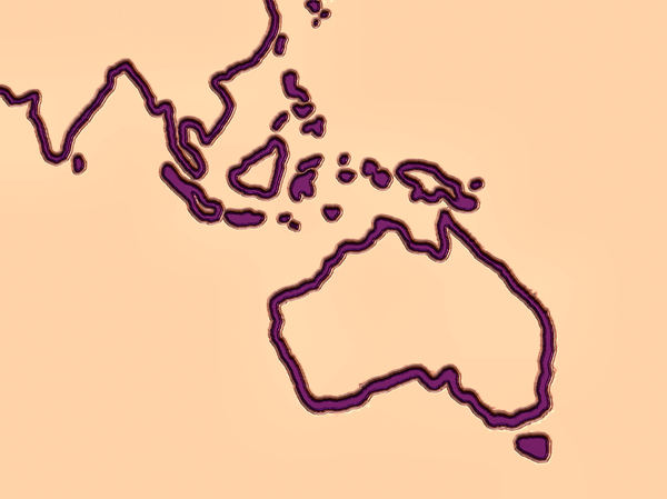 Australasian raised liquid map