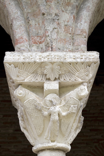 Ancient sculpture: Sculptured pillar capitals in the Romanesque cloisters of the 11th Century Abbaye St-Pierre de Moissac, France. Photography of the publicly accessible parts of this abbey was freely permitted.