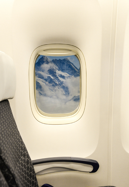 Airplane window: Mountain view