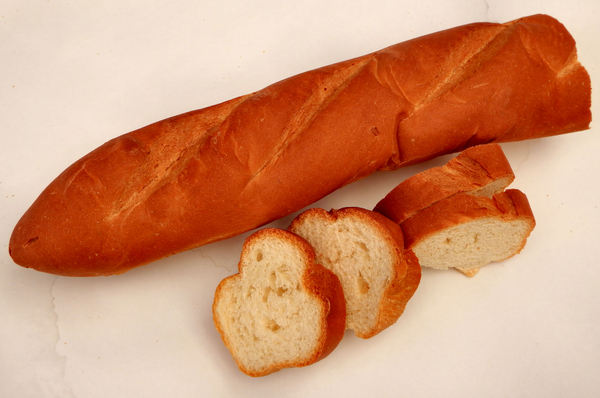 French loaf2: a cut long French stick bread loaf