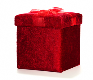 Velvet Gift Box: A pint sized box with a lift off lid and ribbon. Covered in shiny velvet