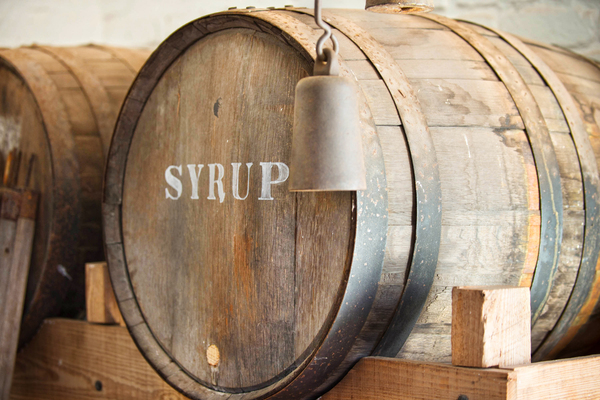 Syrup Barrel: a C19th barrel marked syrup. These syrup barrels are not made any more in the USA