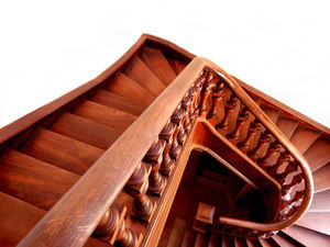 staircase angles2: wooden staircase in old historic rural building