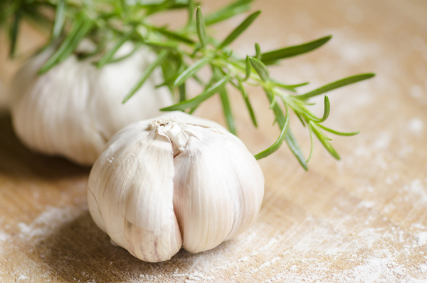 Garlic and rosemary: Essential kitchen herbs. Garlic and rosemary.