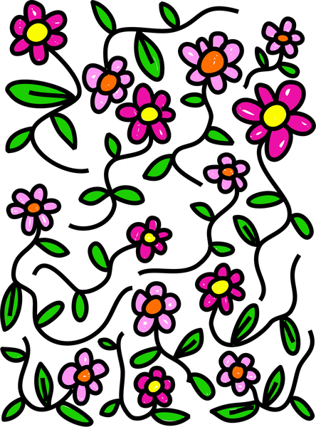Whimsical Flowers: Whimsical cartoon flower pattern.