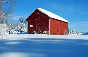 Red Barn in Snow 3