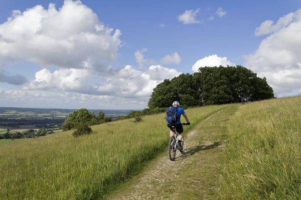 Cycling: Cycling on the South Downs, West Sussex, England.
