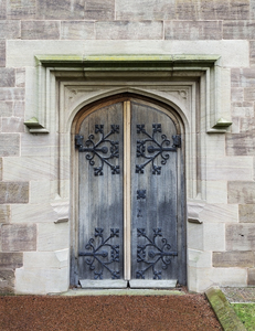 Cathedral door: Paired doors to Hereford Cathedral, England. Photography of the publicly accessible parts of this building was freely permitted.