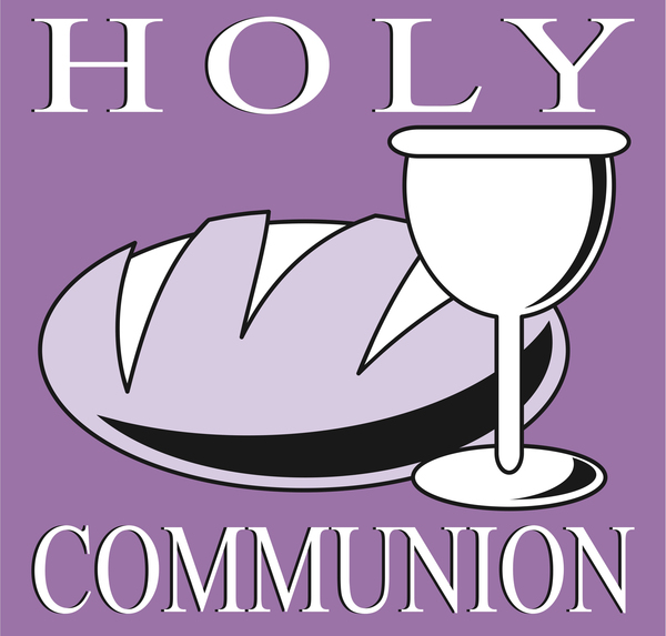 Holy Communion: Bread and wine clipart.