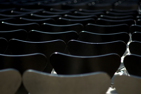 Rows of black chairs