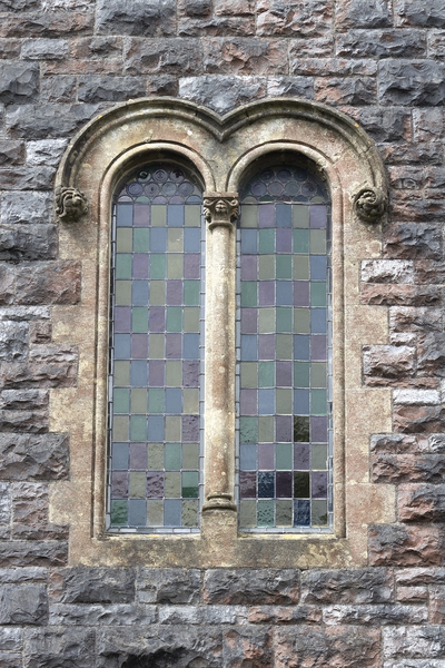 Double window: A double arched window in a church in Wales.
