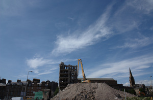 Demolition: Demolition of a tower block in Dundee City Centre ready for redevelopment