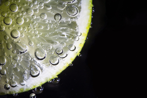 refreshing: lime wedge in sparkling water