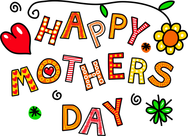 Happy Mothers Day: Happy mothers day hand drawn cartoon text greeting.