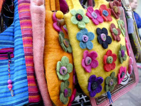 Colorful felt bags: colorful felt bags at the fairground