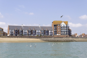 Coastal houses: A modern housing development on the coast of East Sussex, England.