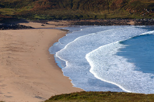 Highland Beach: Redpoint Beach, south of Gairloch, Scotland, looking south towards Skye