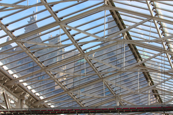 Glass station roof