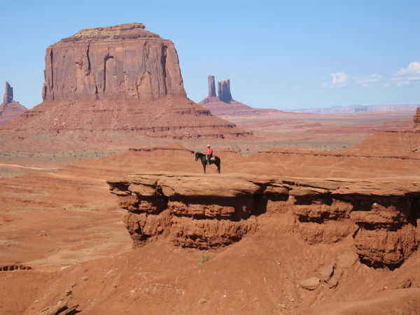 Lone rider in monument Valley