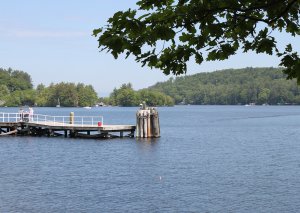 Lakeside pier: A pier on Lake Winnipesaukee, waiting for the steamer.