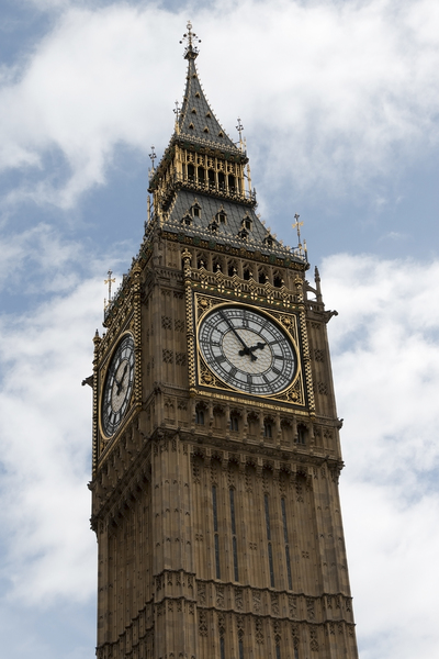 Big Ben: St Stephen's clocktower, which houses the bell called Big Ben, in Westminster, London, England.