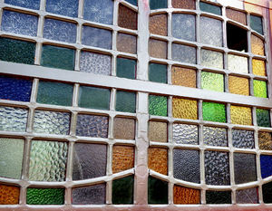 textured panes1: multi-colored textured window panes - with broken window pane