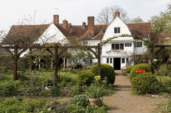 English house and garden: The rear garden of Paycocke's, Essex, England. Photography in the grounds of this historic National Trust property is freely permitted.