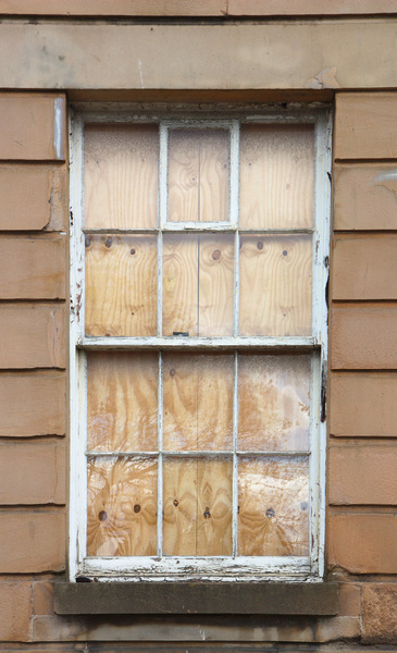 Boarded up window