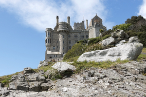 Castle: The castle on St. Michael's Mount, Cornwall, England. Photography of this National Trust property is freely permitted.