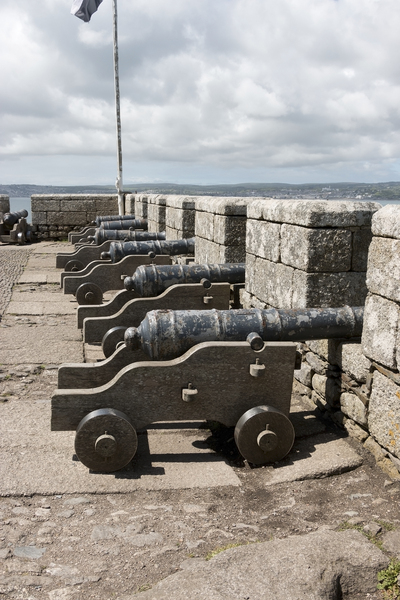 Cannons: Cannons on the castle ramparts of St. Michael's Mount, Cornwall, England. Photography at this National Trust property was freely permitted.
