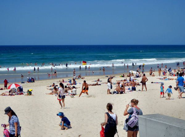 at the beach5: Gold Coast ocean beach with beach goers
