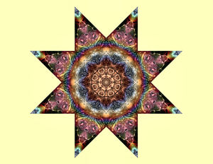 8-pt star light mandala: abstract star mandala background, texture, kaleidoscopic pattern and perspectives
